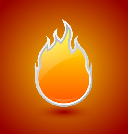 Glossy fire icon on orange red background Stock Vector - 25464937
