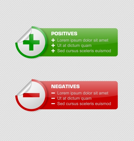 positives: Positives and negatives stickers with banners isolated on grey background Illustration