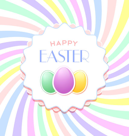 april beautiful: Happy Easter document template with three eggs and badge on colorful background