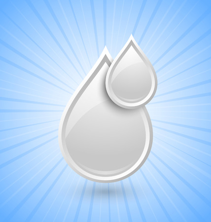 White glossy milk or cream drops icon placed on background with sun burst effect Vector