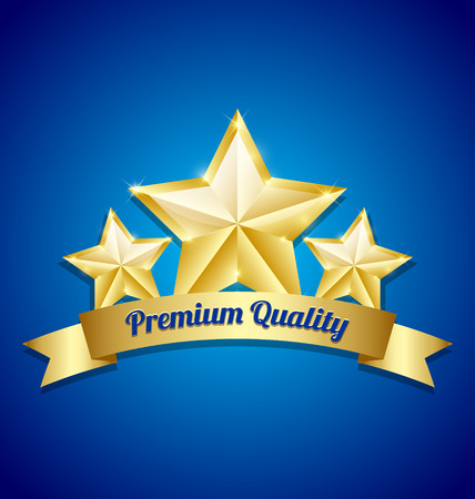 gold plaque: Three golden stars symbol with Premium quality ribbon Illustration