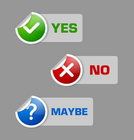 maybe: Yes, no, maybe stickers with semi transparent banners isolated on grey background