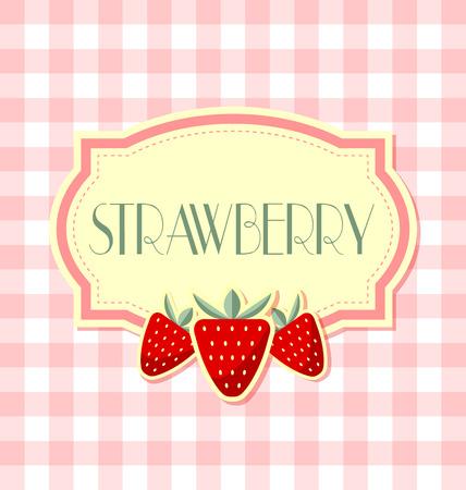 Strawberry label in retro stijl op kwadraat achtergrond