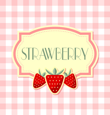 Strawberry label in retro style on squared background Çizim