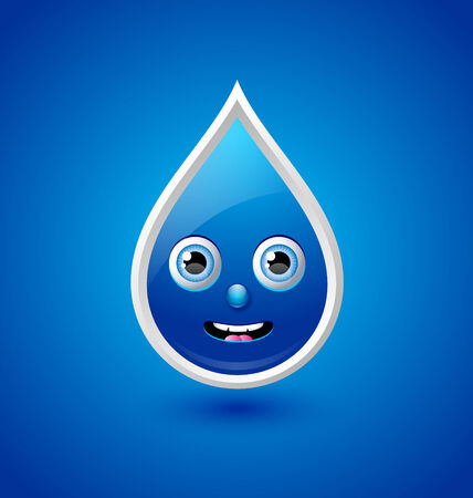 moist: Cute water drop character isolated on blue background