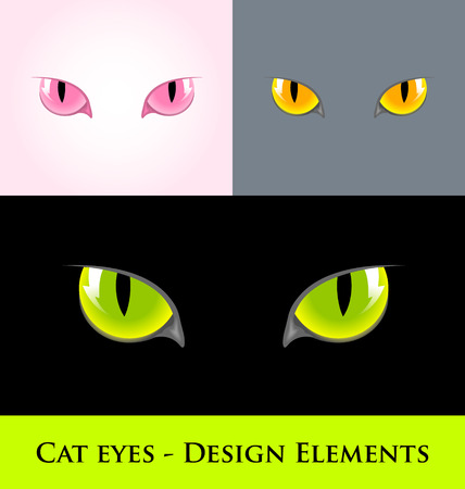 domestic cat: Cat eyes design element isolated on various backgrounds Illustration