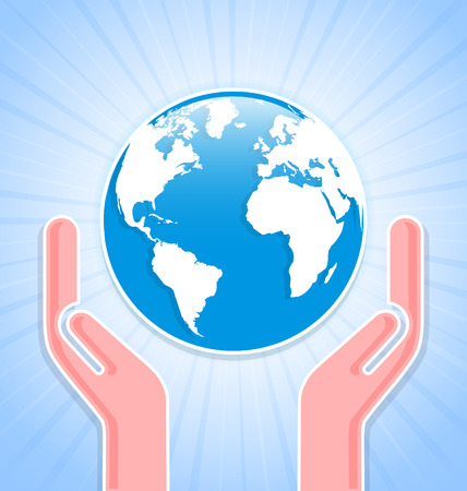 Caring hands with planet Earth on blue background with rays Vector