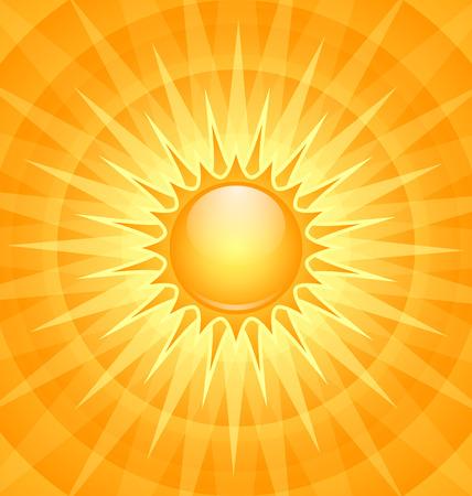 radiate: Big shining summer sun with sunbeams on the sky