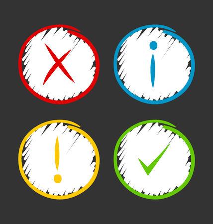 알림: Simple hand drawn notification icons