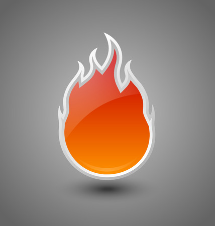 fireballs: Glossy fire icon on dark grey background Illustration