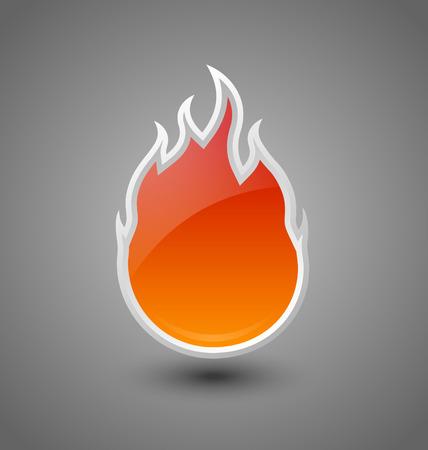 fire danger: Glossy fire icon on dark grey background Illustration