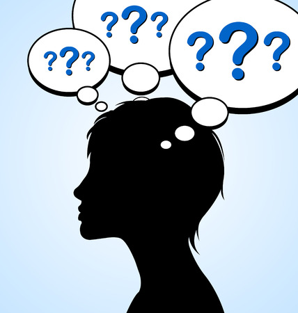 Woman silhouette with question marks in mind bubbles isolated on light blue background Vector