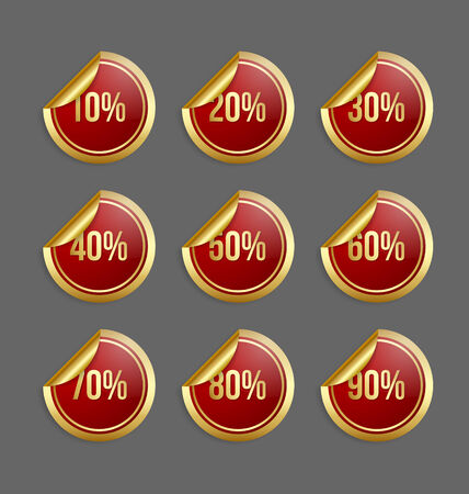 bargain: Set of golden and red bargain stickers with percentage numbers
