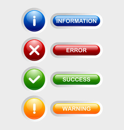 Notification icons and buttons suitable for custom web design and computer purposes Vector
