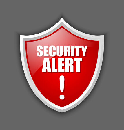 Big red and glossy security alert shield isolated on dark grey background Vector
