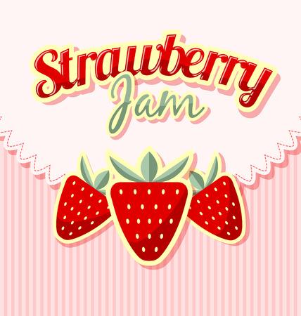 Retro strawberries with title on striped background Vector