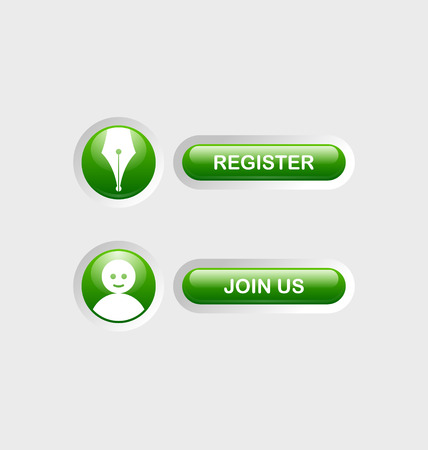 join now: Glossy Register and Join Us buttons with icons sunken in pale background surface