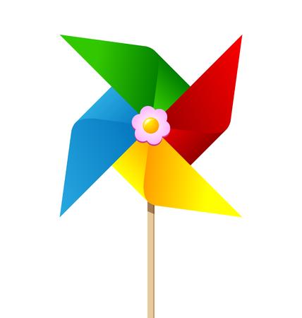 juguetes de madera: Molinillo de viento de papel de colores aislados sobre fondo blanco Vectores