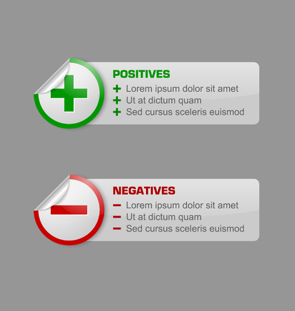 Positives and negatives stickers with banners isolated on grey background Illustration
