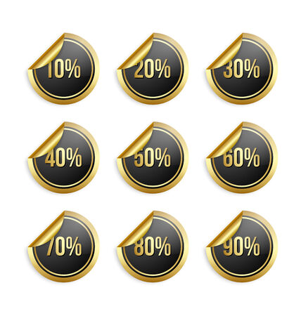 Set of golden and black bargain stickers with percentage numbers Illustration