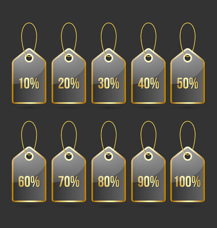 bargain price: Set of golden and black bargain price tags with percentage numbers Illustration