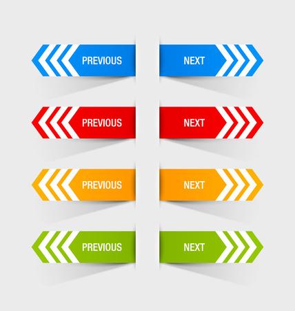 사용자 정의 웹 디자인 또는 컴퓨터의 목적에 적합한 이전 및 다음 탐색 버튼