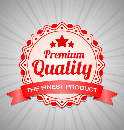 category: Red Premium Quality label with the finest product ribbon