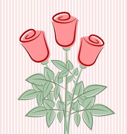 Three retro roses on striped pink background Vector
