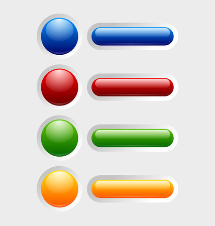 sunken: Set of colorful glossy buttons with icons sunken in pale background surface