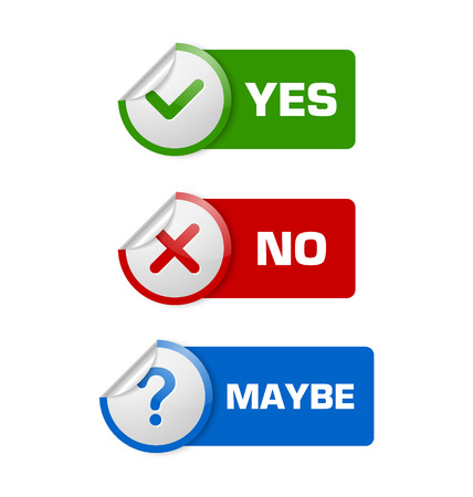maybe: Yes, no, maybe stickers with banners isolated on white background
