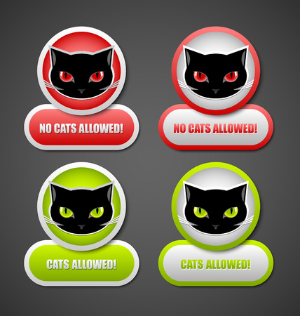Cats allowed and no cats allowed permission icons Illustration