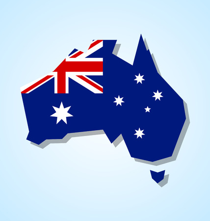 Australia continent with australian national flag inside of the shape isolated on pale blue background Çizim