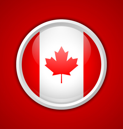 Canadian circular badge with shadow on red background Vector