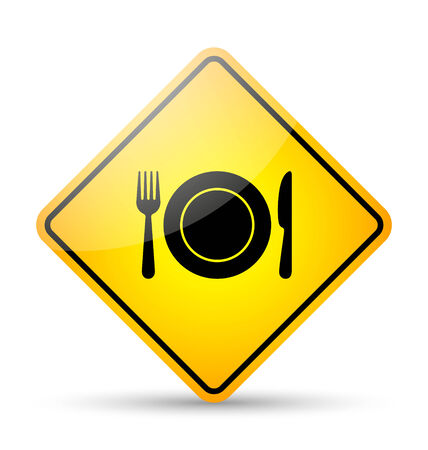 Glossy restaurant road sign in yellow and black style on white background Vector
