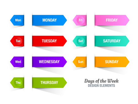 weekly planner: Colorful paper stripes with titles of days of the week inserted into white