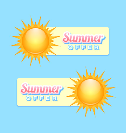 Summer offer banners with sun on light blue  Vector