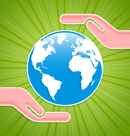 environment geography: Caring hands with planet Earth on green