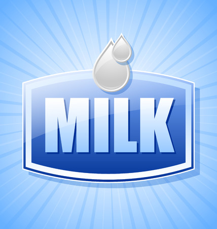 Glossy milk label with milk drops and rays on blue background