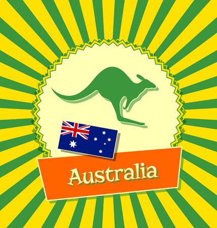 wallaby: Australian badge with national flag of Australia and kangaroo