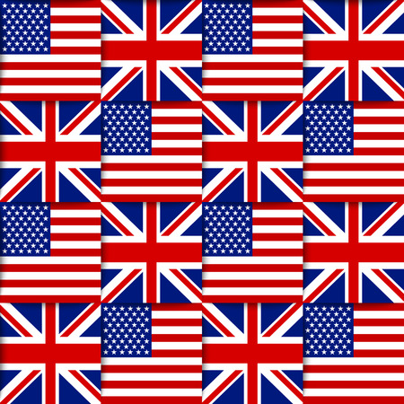 Seamless pattern composed from national flags of the United States of America and United Kingdom Vector