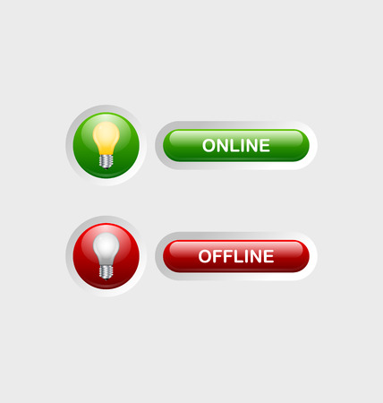 appropriate: Glossy online and offline buttons with appropriate icons