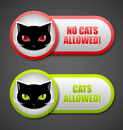 moggy: Cats allowed and no cats allowed permission icons Illustration