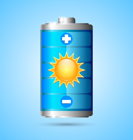 Solar energy battery icon on blue background