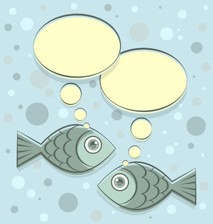 outline fish: Dialog of two fishes on bubbly background in retro style