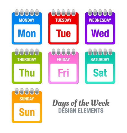 weekly planner: Colorful icons with titles of days of the week isolated on white background