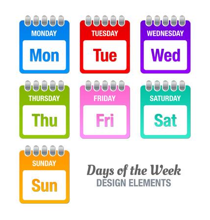 Icone colorate con i titoli dei giorni della settimana isolato su sfondo bianco Vettoriali