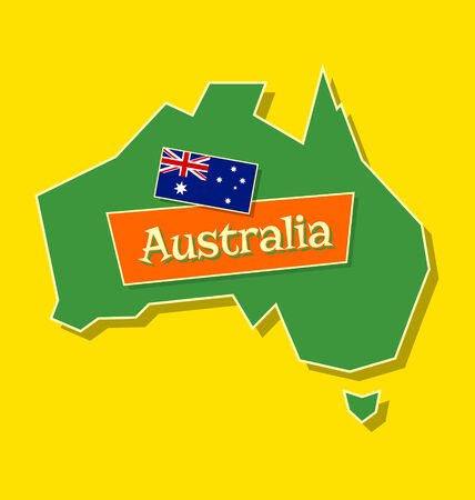 australian flag: Australia continent with australian national flag and title isolated on yellow background Illustration