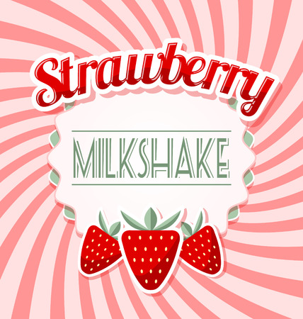 Strawberry milkshake label in retro style on twisted pink background