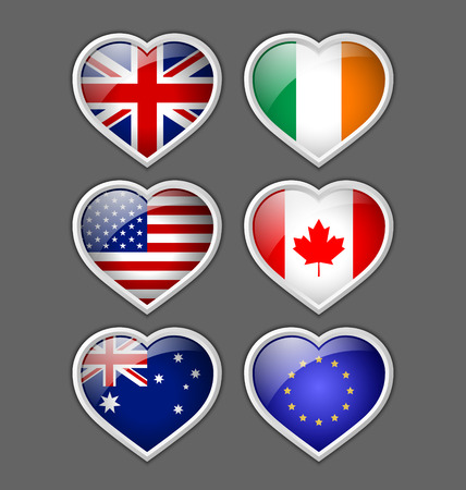 Set of glossy American, British, Irish, European, Canadian and Australian heart icons Vector