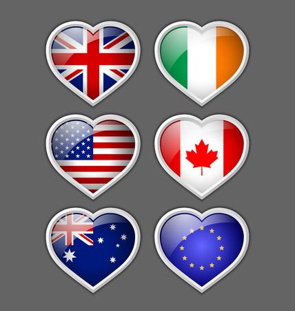 canadian icon: Set of glossy American, British, Irish, European, Canadian and Australian heart icons